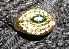 RING R57 Sim. Marquise Emerald & Lots Of Crystals SZ 5 1/2