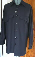 Mens Smokey Joe's Big M Black LS Strait Shirt Pockets Polyester Faint Stripe NWT