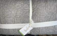 New~Pottery Barn Belgian Flax Linen Trellis King Quilt~Flagstone Gray Grey