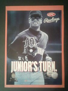 1996 Ken Griffey Jr. Mariners Rawlings Baseball Gloves Memorabilia Promo Ad