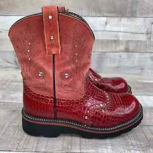 Ariat Fatbaby Red Studded Leather Cowboy Boots 6.5