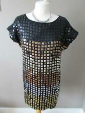 FRENCH CONNECTION Ladies Black Gold Silver Copper Metallic Sequin Dress Size 12
