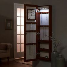 Mirror Jewelry Armoire Box Hidden Storage Organizer Light Lock Wall Mounted Wood
