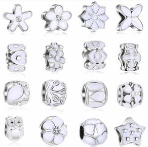 Wholesale 50pcs Mix White Enamel Rhinestone European Big Hole Silver Alloy Beads