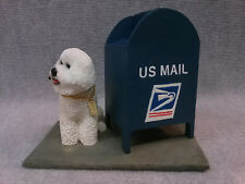 "Bichon Frise ""Mail box"" cast resin sculpture."