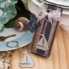 Silver Sailboat Nautical Theme Keychain Beach Bridal Shower Wedding Favors