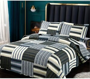 Gray Blue Yellow Striped Patchwork 3 pc Quilt Set Twin Full Queen King Coverlet
