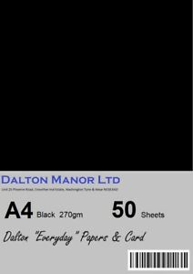 DALTON MANOR A4 BLACK CARD 270gm RECYCLED DOUBLE SIDED CHOICE OF PACK SIZES
