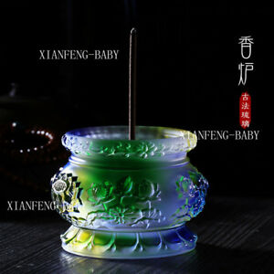 Tibet Buddhist lotus Censer Incense lore Holder Burner Glass