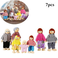 7x Personen Puppenfamilie Holz & Stoff Puppen Biegepuppen Puppenhaus Spiezeug DE