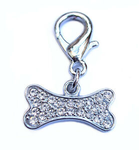 Bone Diamante Dog Charm Collar Accessory Rhinestone Clip on Puppy Bling NEW