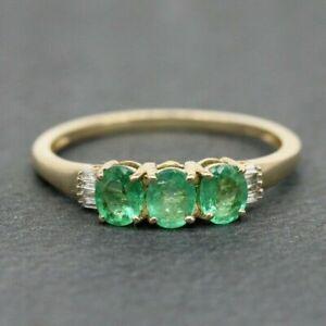 9ct Yellow Gold 1.20ct Emerald & Diamond Three Stone Ring Size T, US 9 3/4