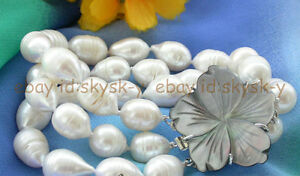 3 row 10-13mm white drip freshwater cultured pearl bracelet shell flower clasp