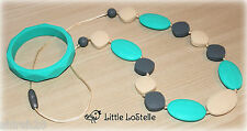 Silicone Teether Teething Nursing Necklace and Bracelet Turquoise Gray Baby Gift