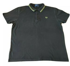 GENUINE MENS GENTS FRED PERRY TWIN TIPPED BLACK GREEN POLO SHIRT TOP 2XL XXL
