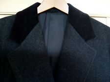 New 100% wool coat. Charcoal Grey w black Velvet collar. 21inches pit to pit