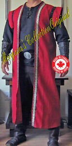 Medieval Celtic Lord King Sleeveless Coat Vest Jacket Mid-Calf wt Wings Deluxe