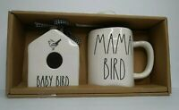 Rae Dunn Baby Bird Mini Birdhouse & Mama Bird Mug Set Neutral Farmhouse Home NWT