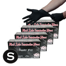 400 Black Latex Powder Free Medical Exam Tattoos Piercing Gloves - Size Small