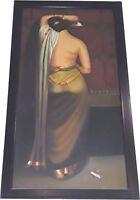 Handmade Portrait Of Indian Women On Canvas Original Oil Painting Bengali Art