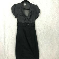 Maurices black white polka dotted ruffled belted dress puffed sleeves sz 7