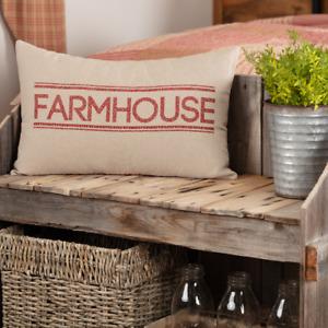 Sawyer Mill Red Farmhouse Pillow 14x22 Red, Khaki, Creme ticking striped back