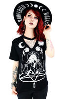 Restyle Witch & Cats Choker Pentagram Roses Moon Gothic Punk Emo T Shirt Top