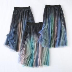 Women Mesh Petticoat Gradient Color Skirt Pleated Midi Elastic Waist Splice