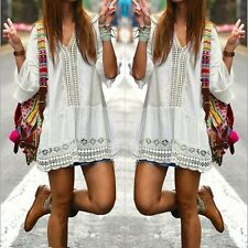 NWT Bohemian Style Women Summer White Flare Sleeve Lace Mini Dress Size Large
