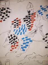 "Ticking-Like Light Cotton Fabric WARRIOR'S Off-Wht.Blue-Black-Orange 3+1/3ydx35"""