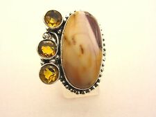 925 Sterling Silver Ring With Mookaite And Citrine UK Q 1/2 US 8.25 (rg2736)
