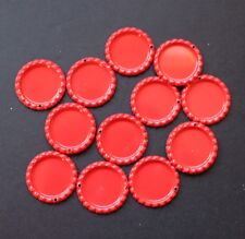 "Lot of 25 1"" Flattened Red Bottle Caps with Punched Hole for Crafts"