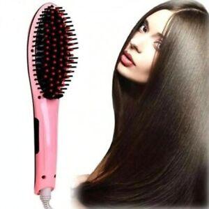 Hot Air Brush Hair Natural Styling Straightener Irons Ceramic Comb w/LCD Display
