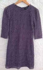 Oasis Dark Purple Grey Dress With Crochet Overlay 3/4 Sheer Sleeves Size 10