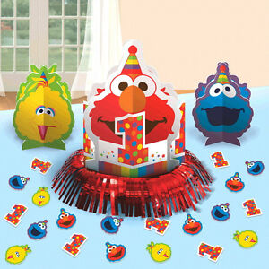Sesame Street Elmo 1st Birthday Table Decorating Kit Party Supplies First ~ 23pc