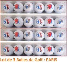 Boite de 3 BALLES de GOLF : PARIS, TOUR EIFFEL, FRANCE - Qualité supérieure NEUF