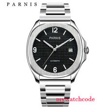 Parnis black dial Sapphire glass steel strap Miyota 821A automatic mens watch