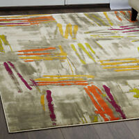 Rugs Multi-Color Abstract Area Rug Modern Paint Strokes Floor Décor Large Carpet