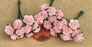 1:12 Scale 3 Bunches (30 Flowers) Of Pink Paper Roses Tumdee Dolls House G