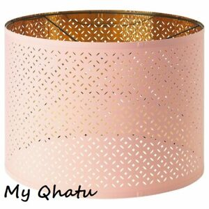 """Ikea NYMO Lamp Perforated Shade 17"""" Pink / Brass color New"""