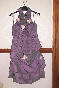Veni Infantino Purple Grey Pink Roses  Party 2 piece Dress Cocktail Prom UK 8