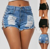 Denim Short Ripped Jeans High Waist Summer Tassel Lace Up Bandage Women Fashion