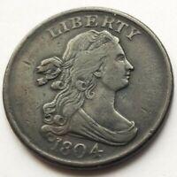 1804 DRAPED BUST HALF CENT PLAIN 4 STEMLESS XF ORIGINAL COIN NICE!