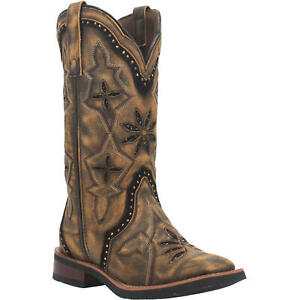 Laredo Ladies Bouquet Black and Brown Square Toe Boots 5844