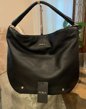 Large Black Leather FURLA Shoulder Bag/ Hobo/ Tote MSRP $298