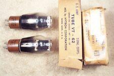 2, NEW, Hytron VT-62, 801A, black plate, micanol base, match pr, wartime, 10 eq