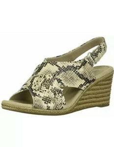 Clarks Women's Lafley Alaine Wedge Sandal Taupe Snake Synthetic 8.5 M US