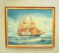 3 Mast Sailing Ship Oil Painting Seascape Nautical Maritime Mid Century Modern