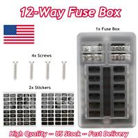 12-Way Blade Fuse Box Block Holder LED Indicator 12V 32V Waterproof Auto Marine
