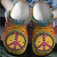 Hippie Peace Orange Theme Crocband Clog Unisex Fashion Style For Women, Men Croc